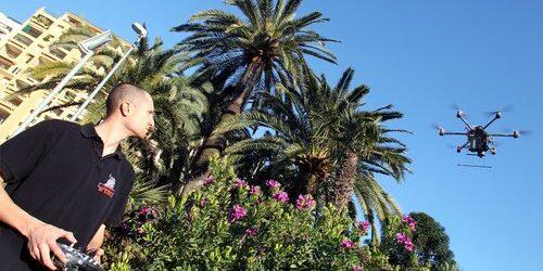 ©PHOTOPQR/NICE MATIN/ERIC DULIERE. 24/02/2014. Monaco On lutte contre l'invasion du charançon rouge avec des drones afin de larguer des produits spécifiques comme ici avec aux commandes Erwan Grimaud sur les grands palmiers malades de Fontvieille en Principauté de Monaco.