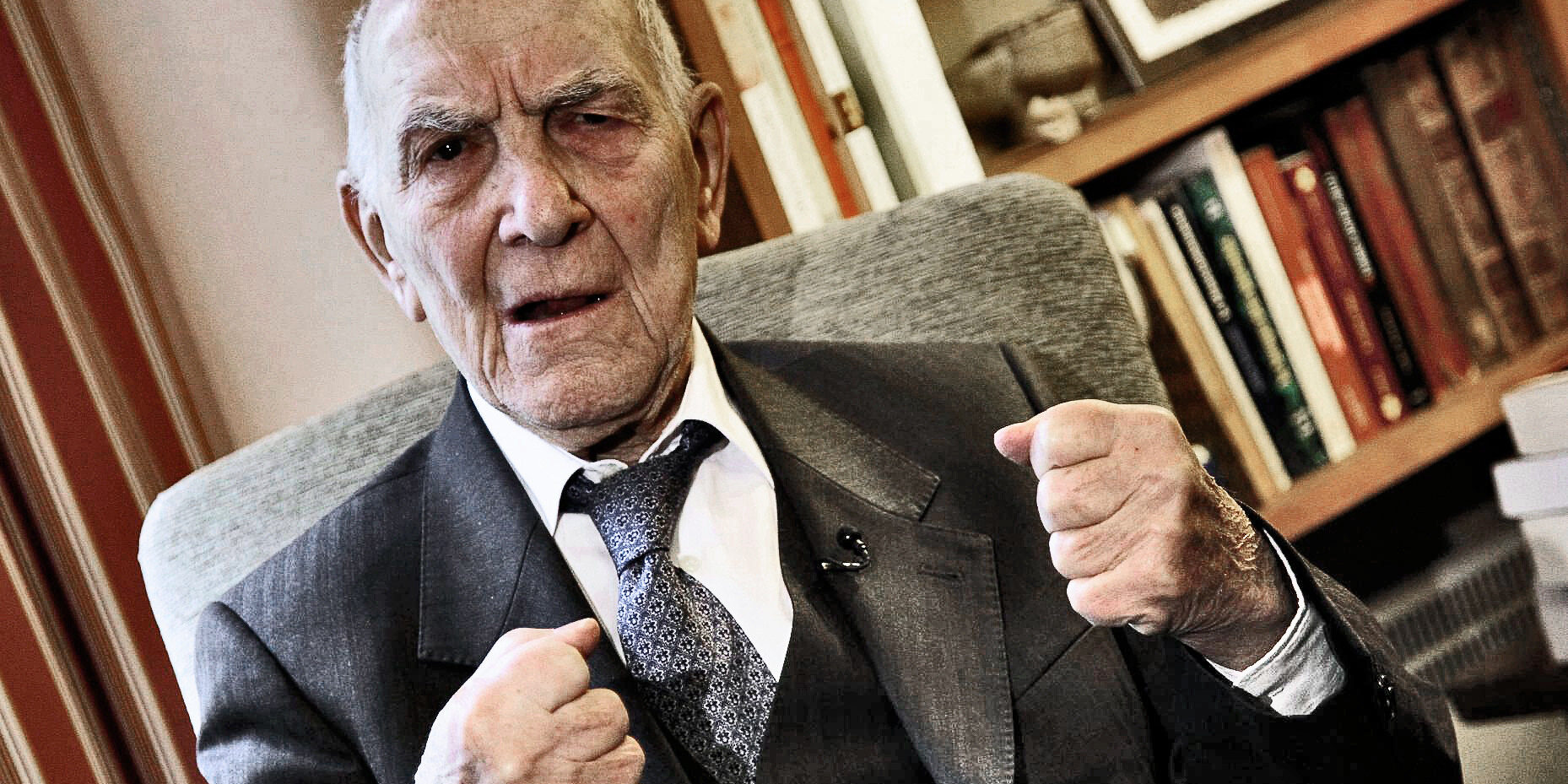 "Stephane Hessel, a former French Resistance spy, Nazi concentration camp survivor and postwar diplomat is seen during an interview with The Associated Press in Paris, France, Thursday, Janv. 6, 2011. Hessel is making a splash with a best-selling book 30-page book ""Indignez-Vous!"" whose title translates as ""Be Indignant"" or ""Get Angry"" that urges readers to buck up and fight the world's big problems. (AP Photo/ Francois Mori)"